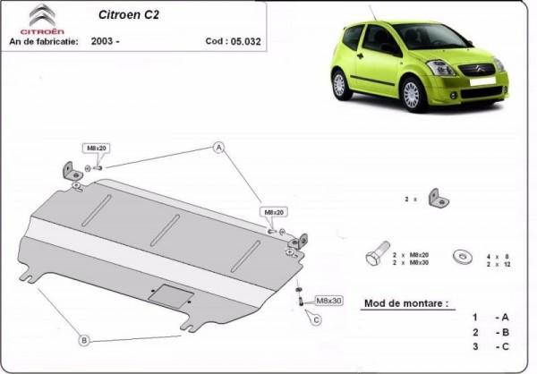 Stalowa Osłona pod silnik Citroen C2 - (2003-2019)