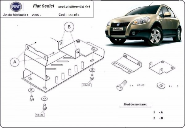 Stalowa Osłona dyferencjału Fiat Sedici - (2006-2019)
