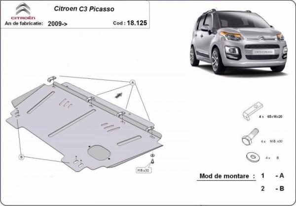 Stalowa Osłona pod silnik Citroen C3 Picasso - (2009-2019)